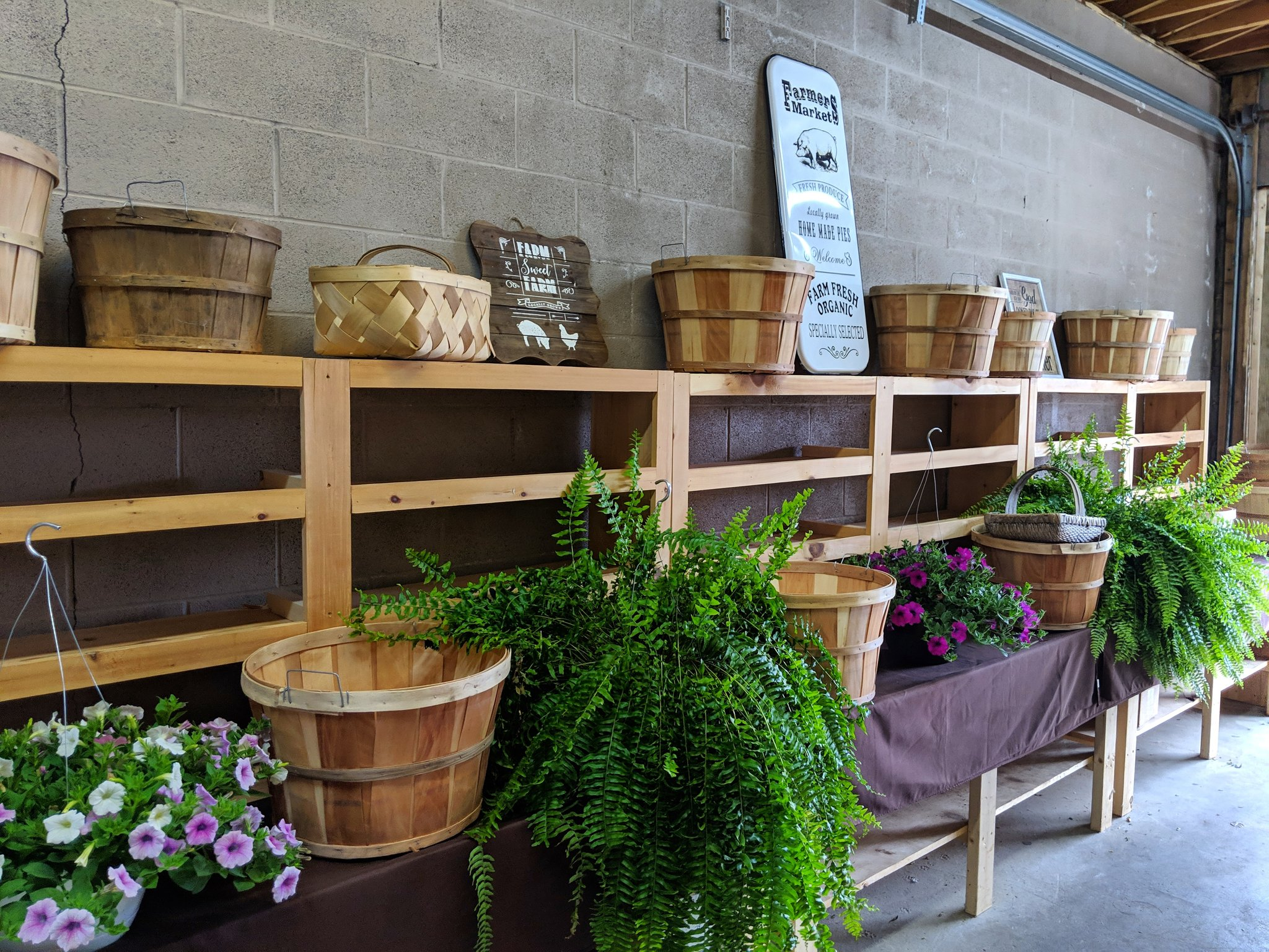 The Griffith Family Farm stall featuring tables and shelves with pots of flowers, herbs, and baskets.