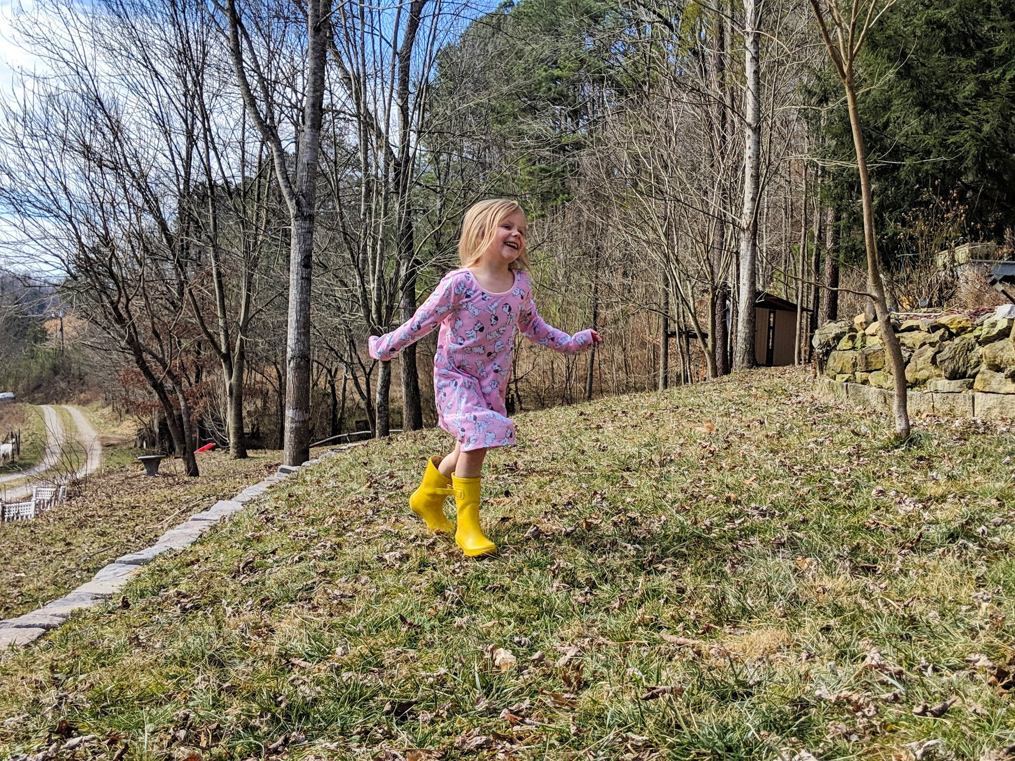 Young girl running through the grass - You Will BEE Fine blog