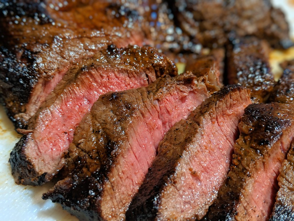 Slices of medium to medium-rare sirloin steak.