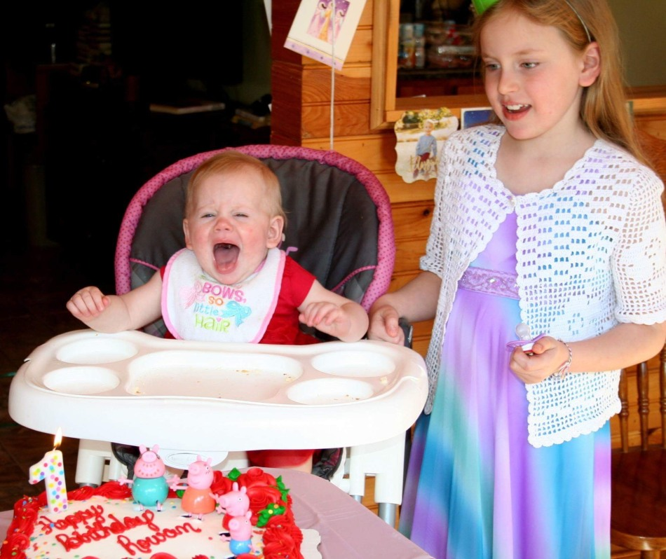 One-year-old girl screaming during the birthday song while her older sister stands next to her - You Will BEE Fine blog